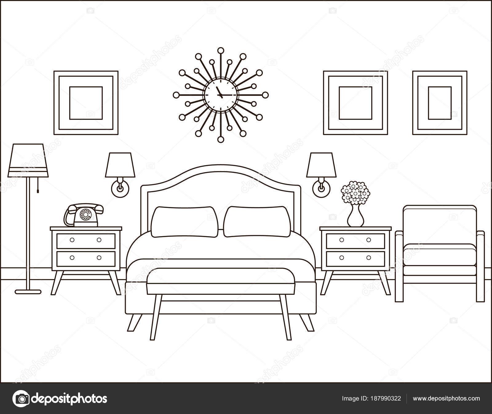 Interior do quarto quarto de hotel em design retro for Camere albergo dwg