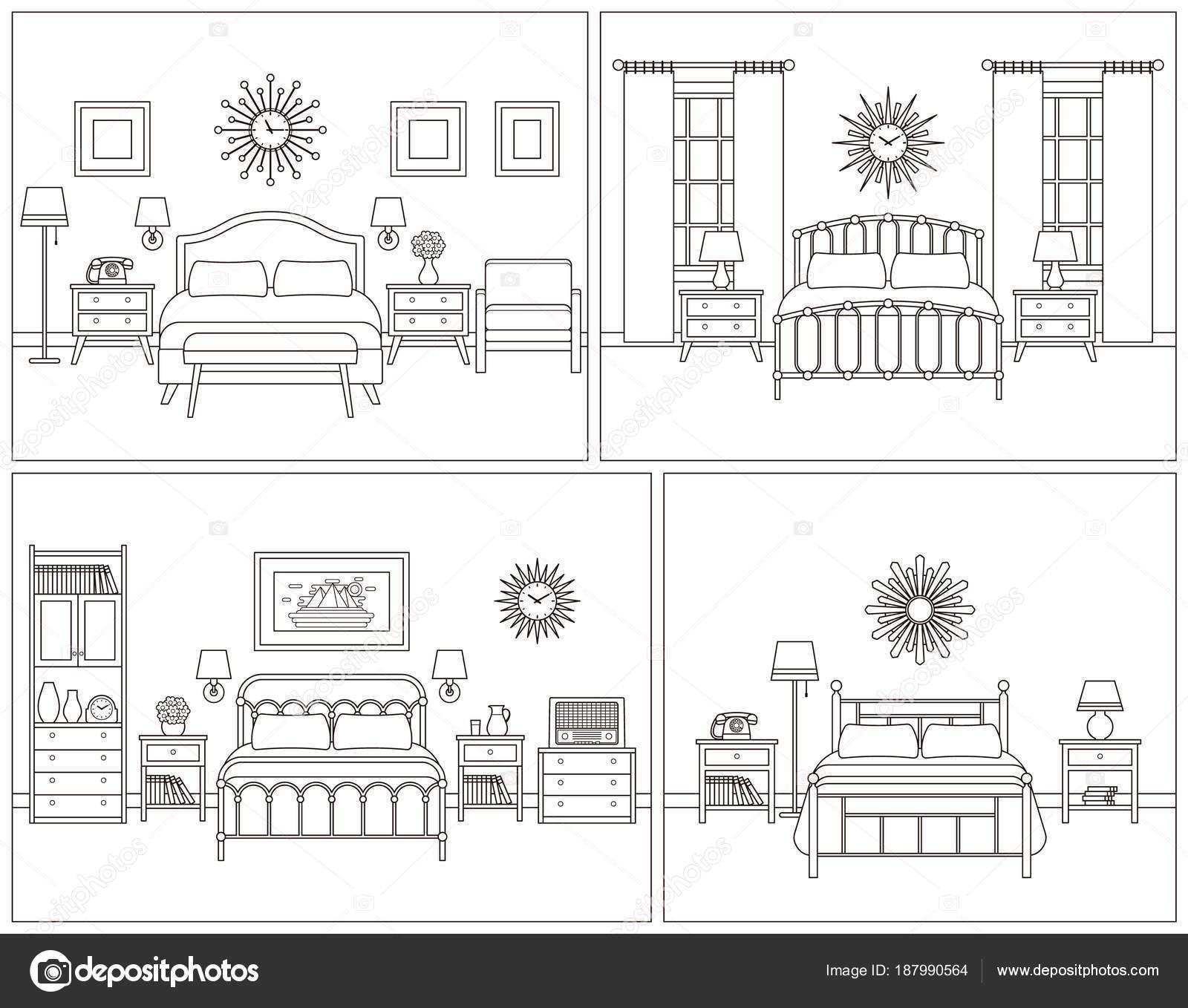 Yatak Odası Iç Retro Tasarım Otel Odasında Vektör Illustratio