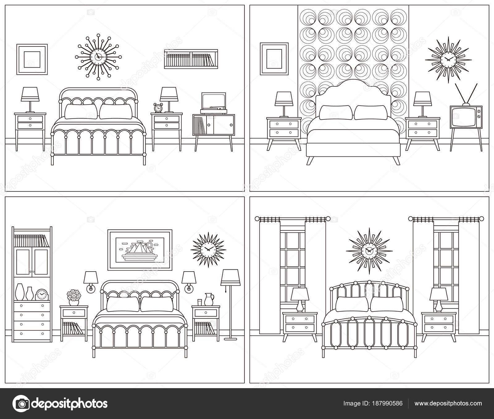 Slaapkamer interieur. Hotelkamer in retro ontwerp. Vector ...