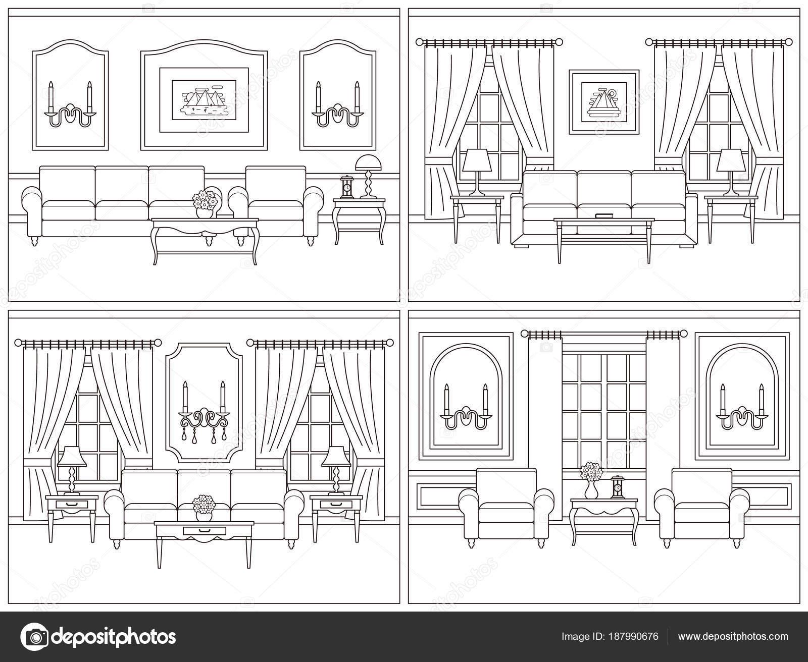 Oturma Odası Iç Hat Sanat Düz Stil Vektör çizim Stok Vektör