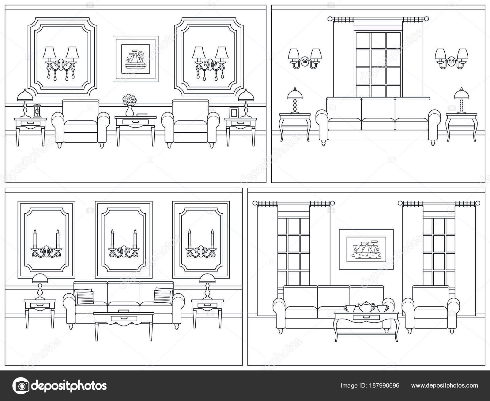 Woonkamer interieur in platte kunststijl lijn. Vectorillustratie ...