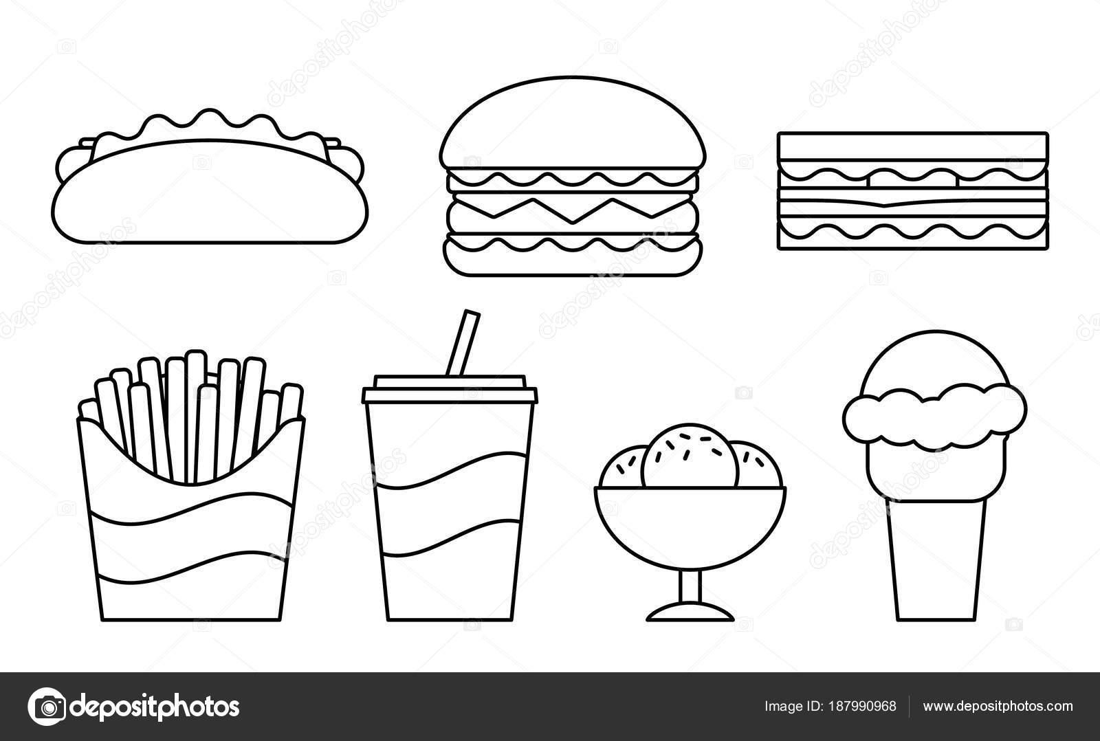 Comida rápida iconos lineales de diseño plano. Ilustración de vector ...
