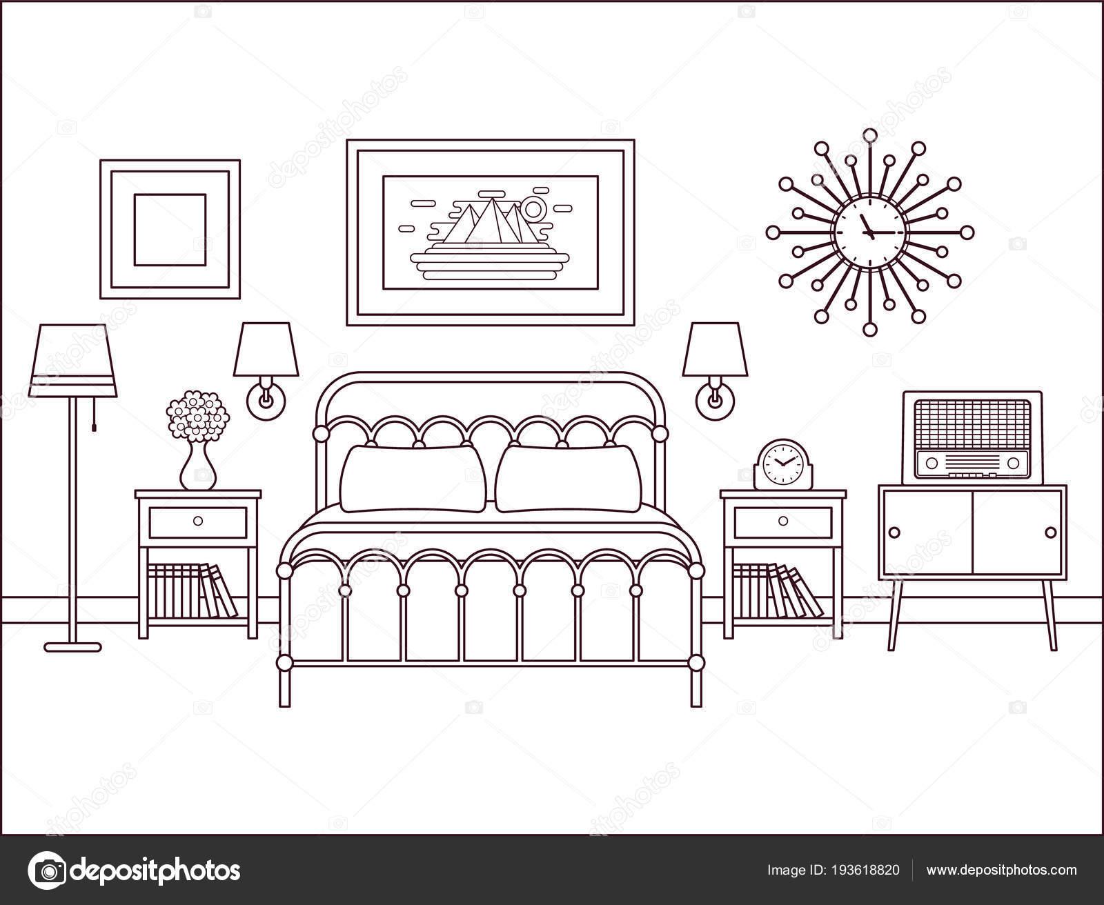 Interior De Dormitorio Habitación Con Cama De Matrimonio