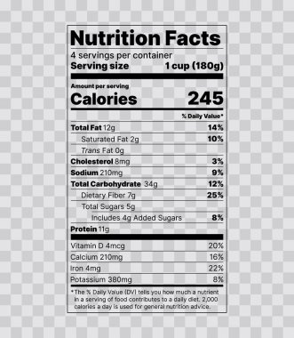 Nutrition facts Label. Vector illustration. Tables food informat