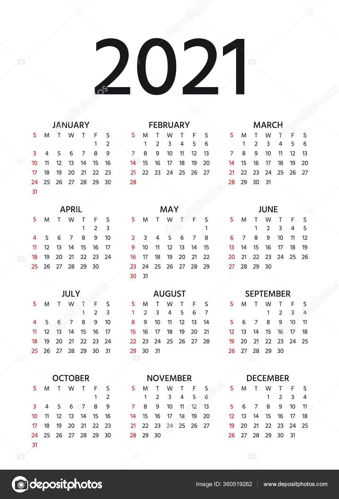 Calendar 2021 Year Vector Week Starts Sunday Pocket ...