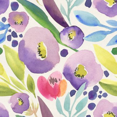 Seamless  watercolor pattern with colorful flowers stock vector