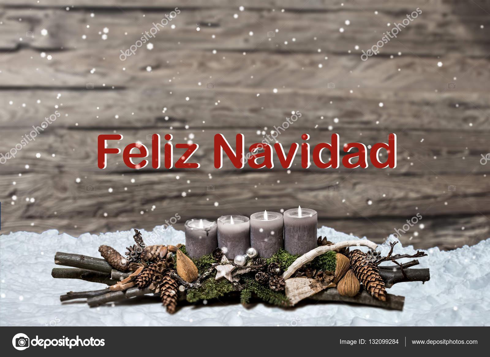 Frohe Weihnachtsdekoration brennen graue Kerze Schnee Text message ...
