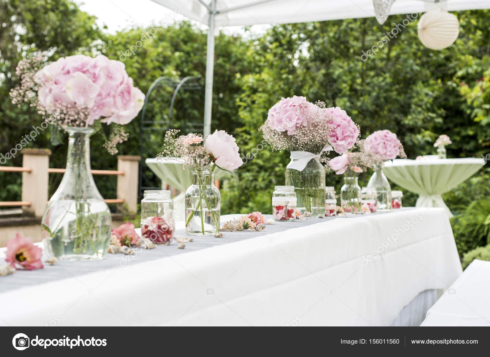 Blumen Einstellungen Dekoration Im Freien Setup Fur Hochzeit Mit