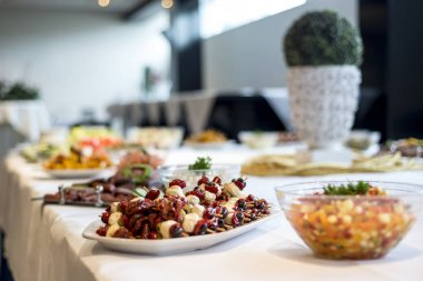 Variety of fresh salads bowls on buffet table business dinner