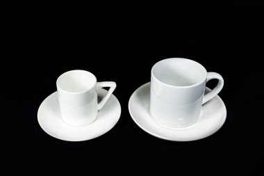 insulated unprinted cups for sublimation of different shapes, colors and designs designer on a black background isolated