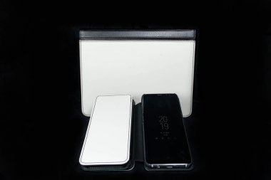 Foldable Phone and tablet Case white and black leather blank on black backgroud for sublimation print design
