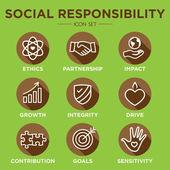 Fotografie Social Responsibility Outline Icon Set