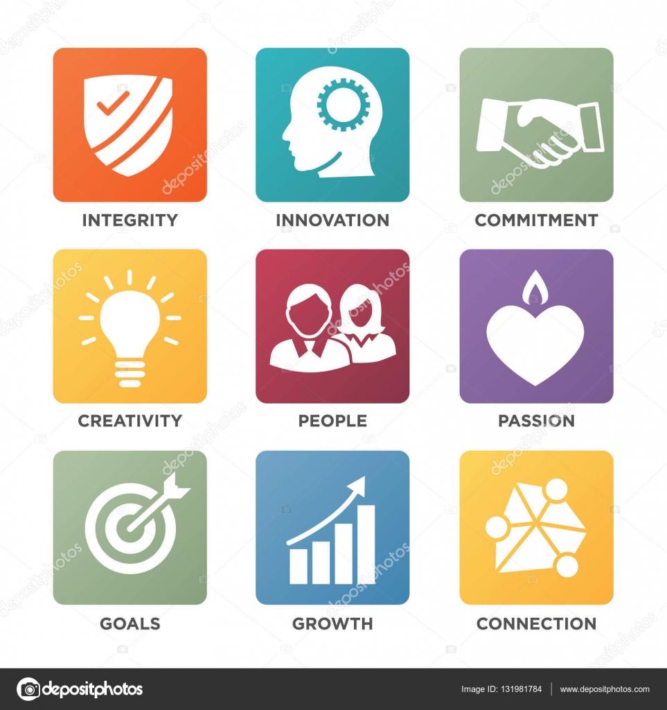Empresa núcleo valores sólidos iconos para sitios web o infografías ...