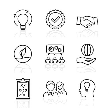 Core Values - Mission, integrity value icon set with vision, hon