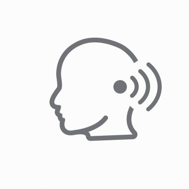 Ear and ear canal outline icon image for hearing / listening los