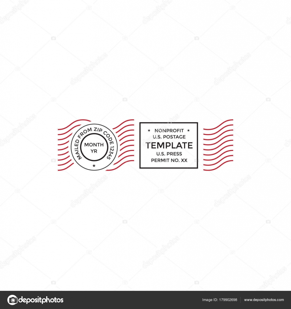 Postal cancellation First Class mail Postage Paid mark — Stock Vector