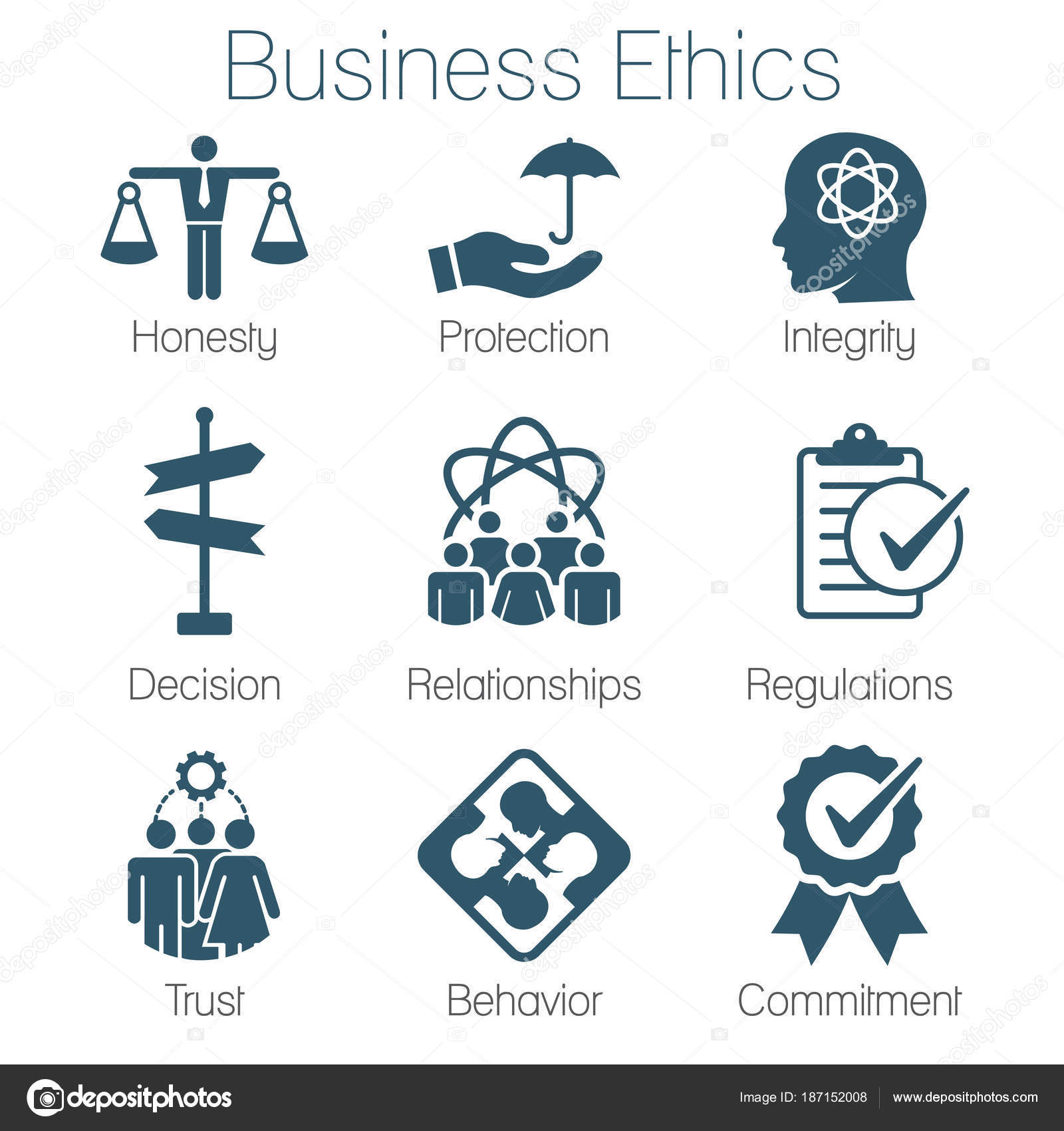 Business ethics solid icon set with honesty integrity commitme business ethics solid icon set with honesty integrity commitme stock vector biocorpaavc Image collections