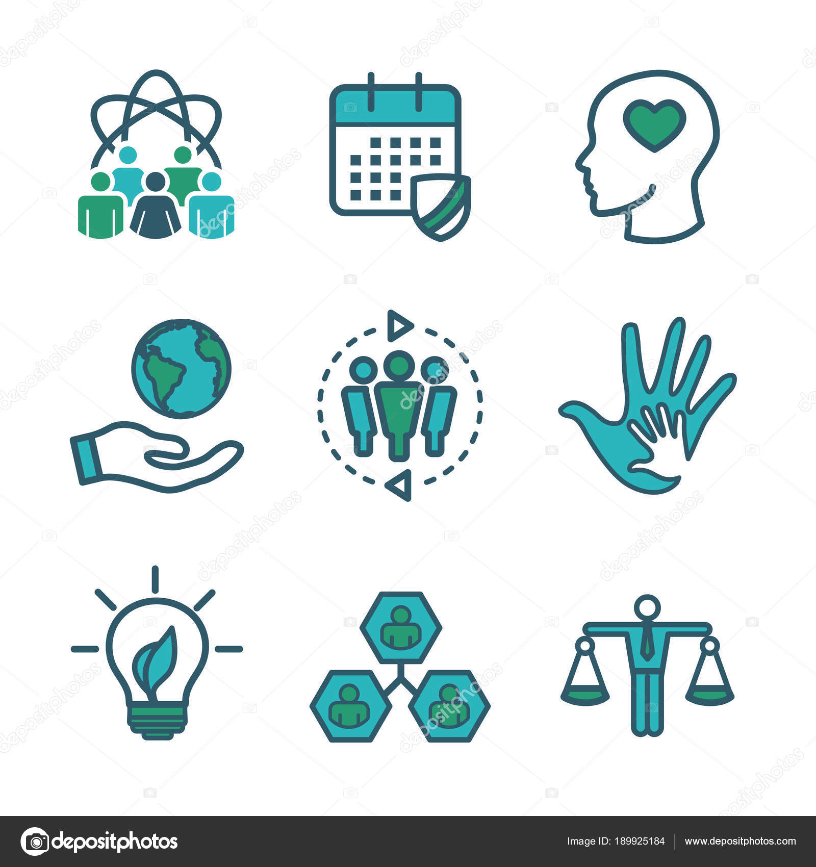 Social Responsibility Outline Icon Set With Honesty Integrity