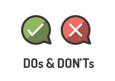 Do and Don't or Good and Bad Icons w Positive and Negative Symbols stock vector