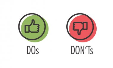 Do and Don't or Like & Unlike Icons with Positive and Negative Symbols stock vector