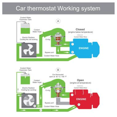 When the thermostat is closed, coolant is returned to the water pump though a bypass port pipe and back to the engine system. Engine parts Illustration. clip art vector