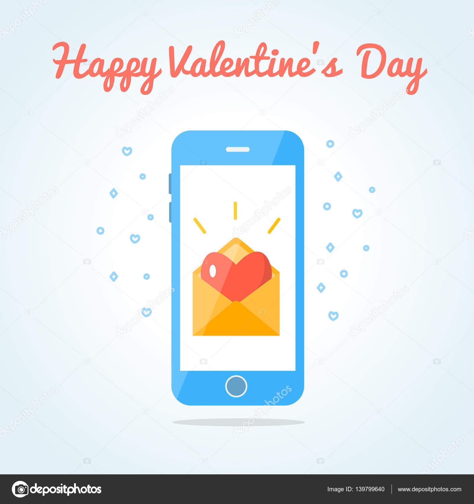 Smartphone Met Een Open Liefde Sms Of E Mail Stockvector