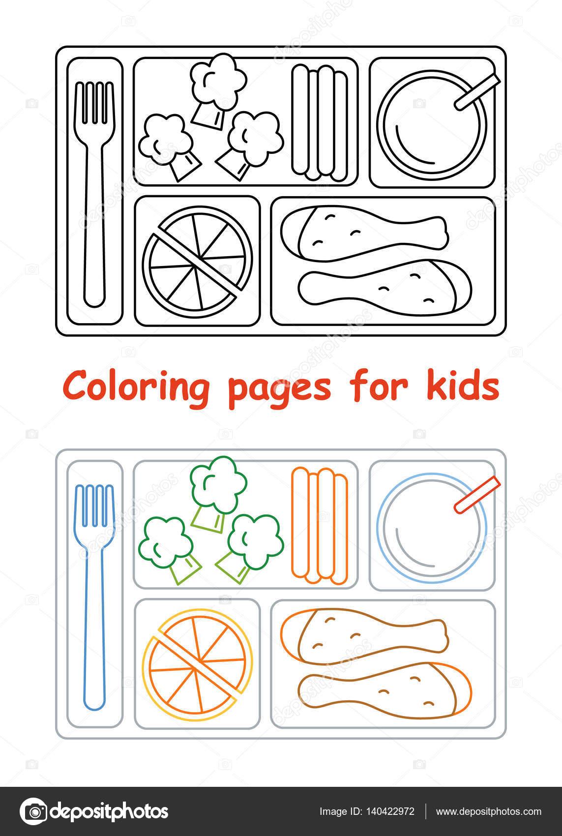 Imágenes: un almuerzo para colorear | Páginas de colorear para los ...