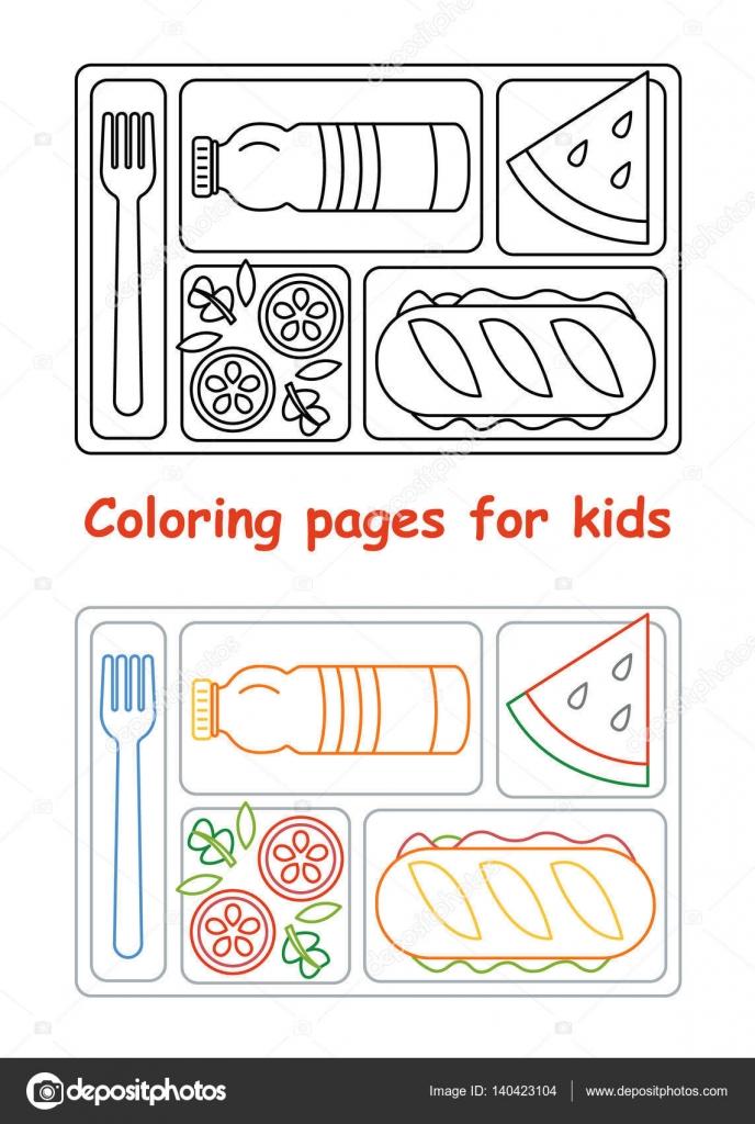 Páginas de colorear para los niños con la bandeja del almuerzo ...