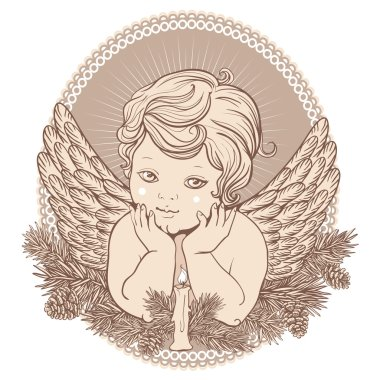 little angel with wings with a candle