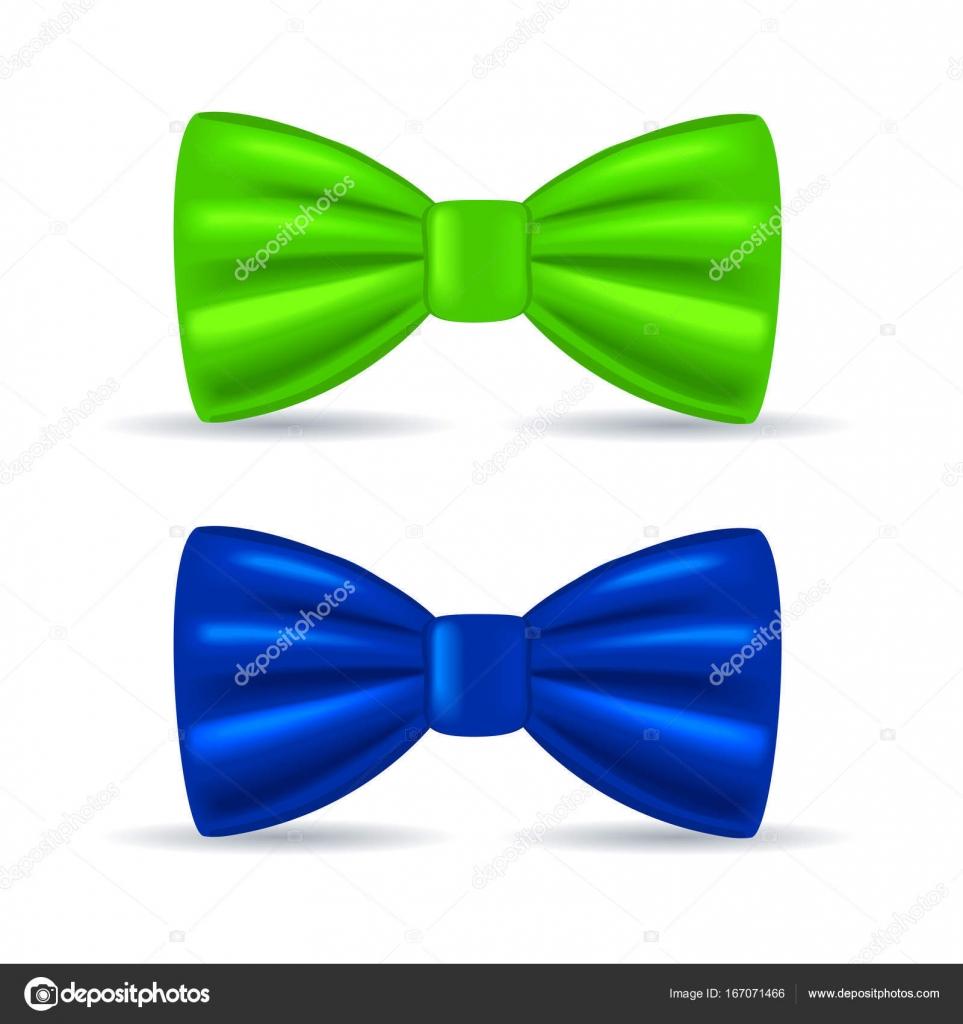 Dessin Réaliste Solennelle Noeud Papillon Vert Et Bleu