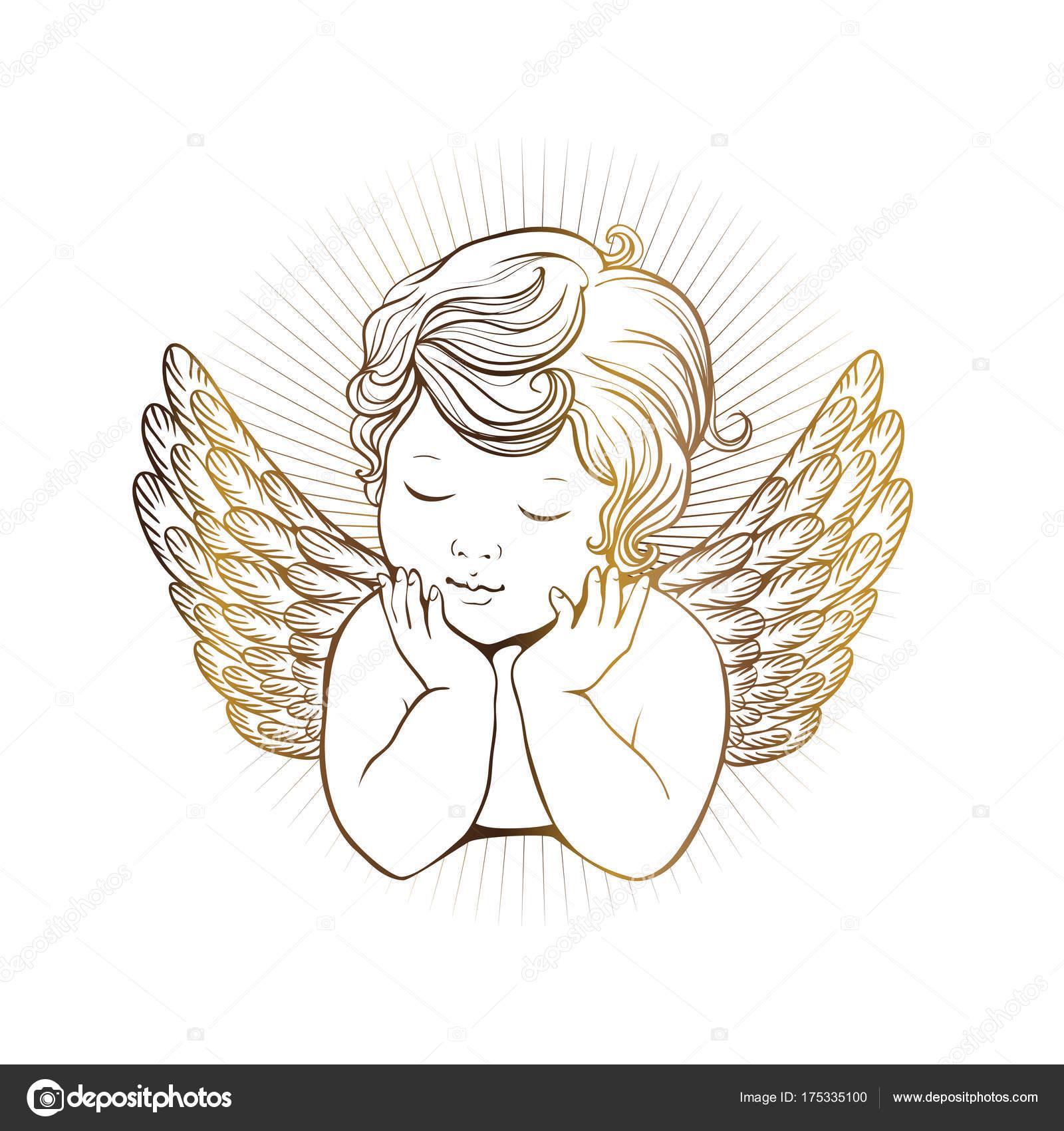 Dibujos Alas De Angelitos Lindo Angelito Con Los Ojos Cerrados