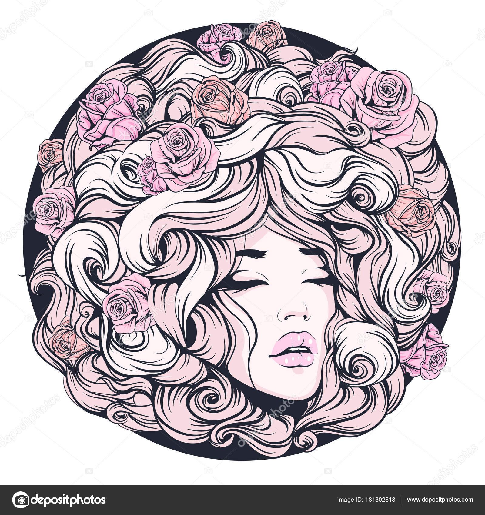 Mädchen Die Augen Geschlossen Lange Lockige Haare Rosa