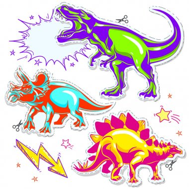 Set of vector dinosaurs. Vector illustration of cartoon dinosaurs.