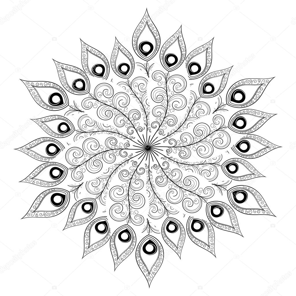 monochrome white black mandala vector indian ethnic oriental or