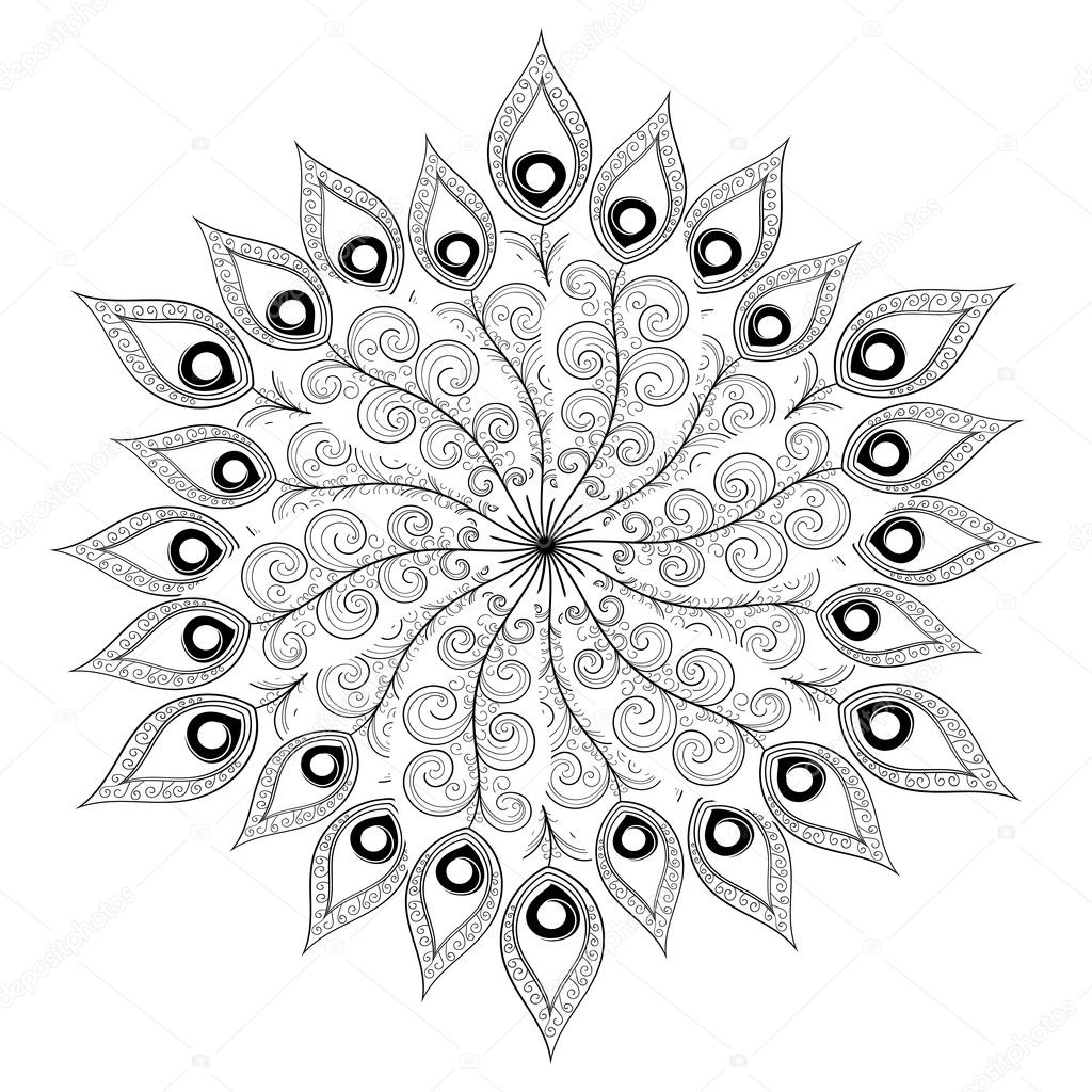 depositphotos stock illustration monochrome white black mandala vector