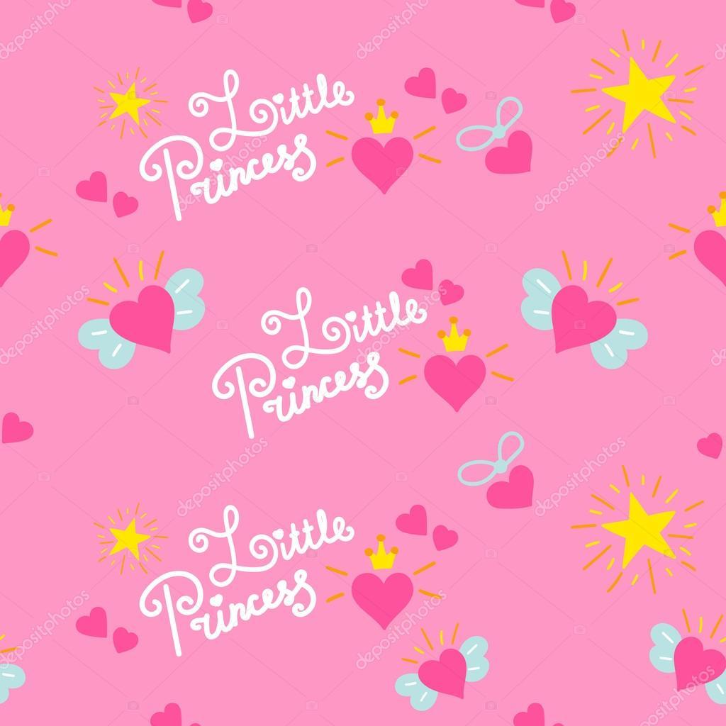 Meisjes Behang Lief.Roze Little Princess Patroon Vector Lief Meisje Achtergrond Voor