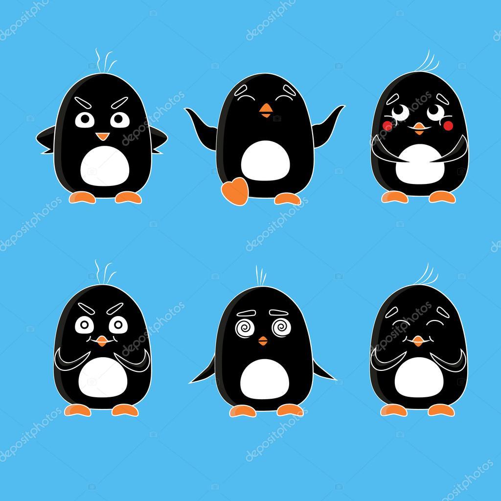 cute penguins vector set cartoon animal flat vector emotion