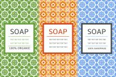 Soap package patterns seamless vector. Vector set of design elements for soap labels, and wrapping paper and box. Organic and handmade soap design package templates.