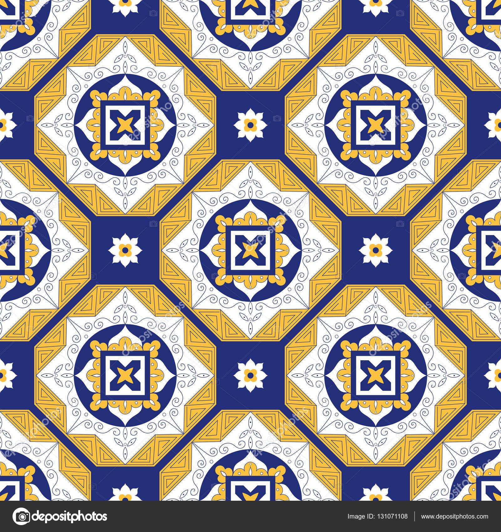 Vector de patr n de azulejos portugueses con adornos - Azulejos blancos ...