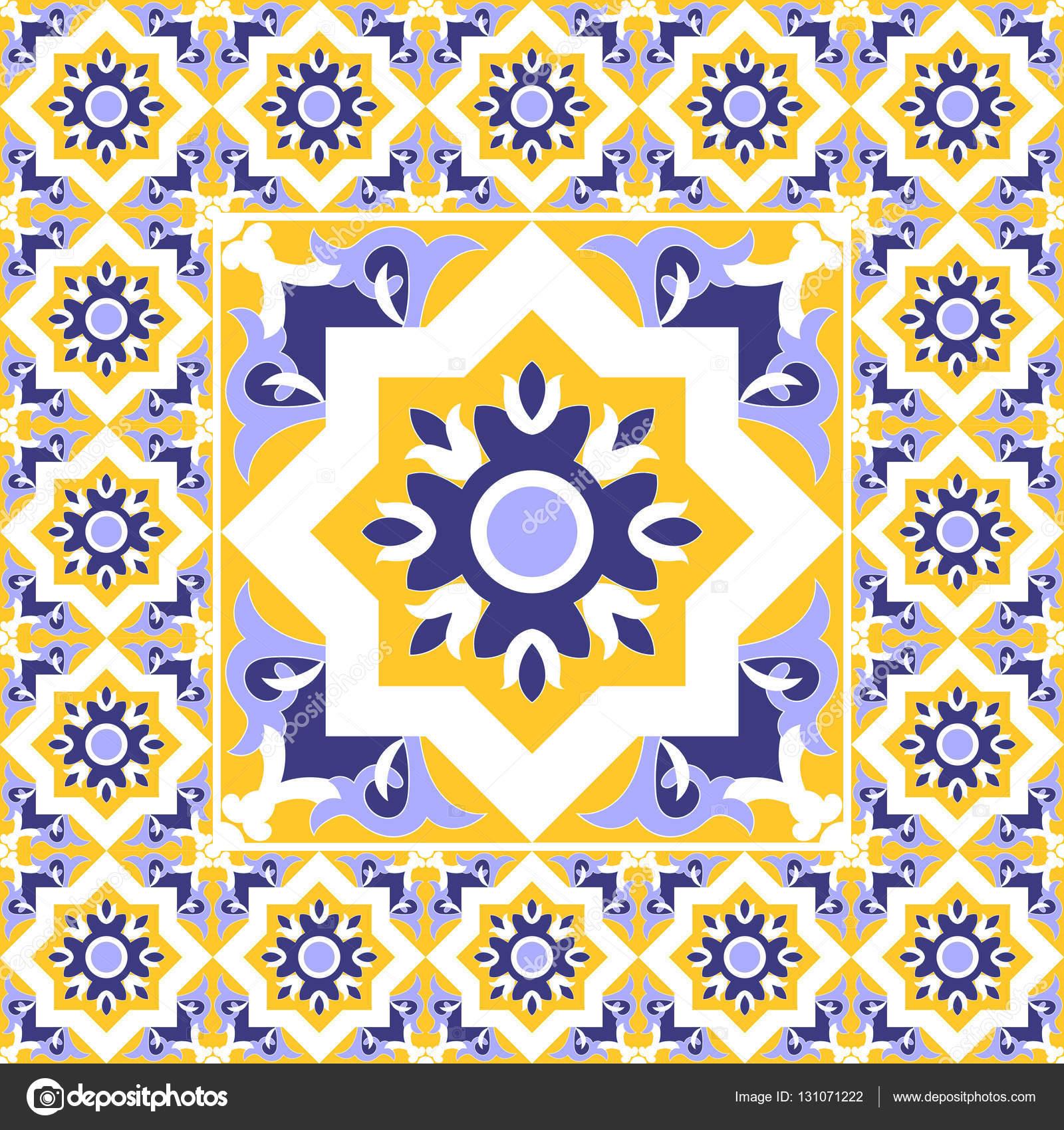 Azulejos - vector patrón vintage con cemento cerámica baldosas. Gran ...