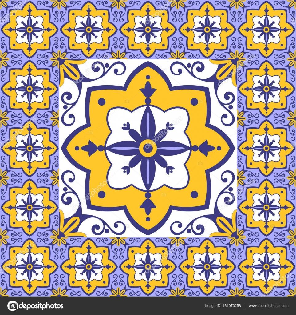 Flores patr n azulejos piso vector vintage con baldosas - Azulejos con dibujos ...