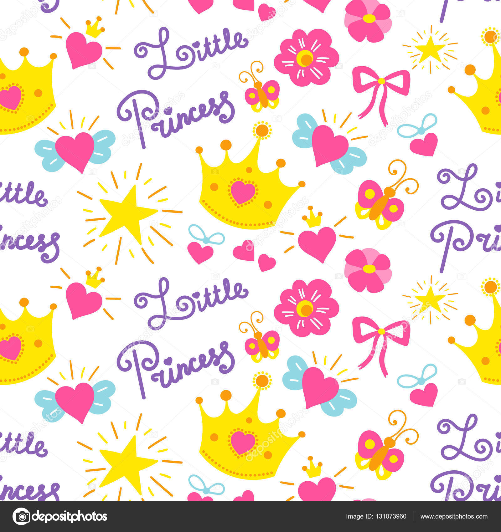 Little princess pattern vector cute girl background for birthday little princess pattern vector cute girl background for birthday card baby shower invitation stopboris Choice Image