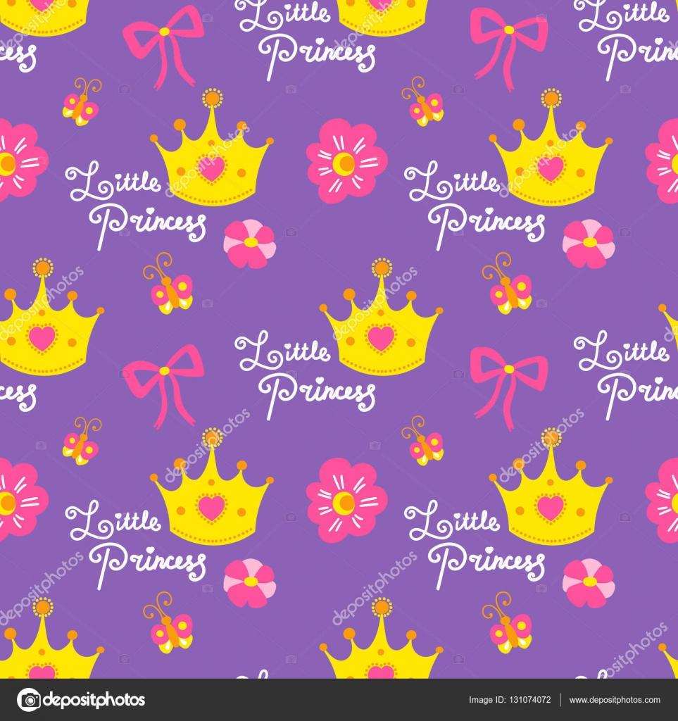 Little princess pattern vector Sweet girl background for children