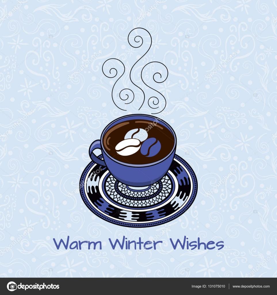 Warme Winter Wünsche. Urlaub Grußkarten-Vorlage Vektor. Design für ...