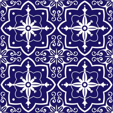 Tiles pattern vector with blue and white flowers ornaments. Portuguese azulejo, mexican, spanish or moroccan motifs. Tiled background for wallpaper, surface texture, wrapping or fabric. stock vector