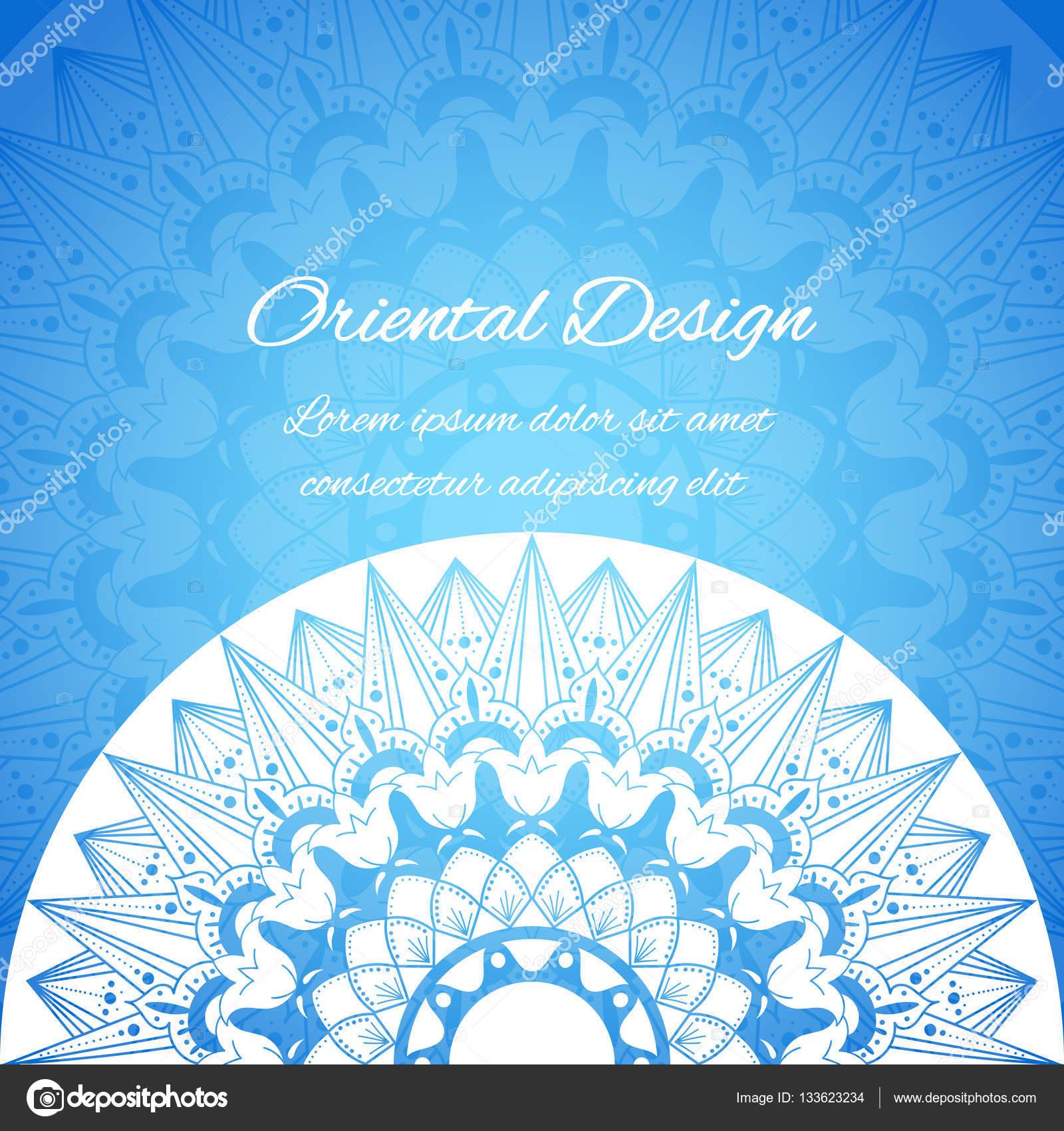 Vector tarjeta India con motivos únicos mandala. Azul diseño ...