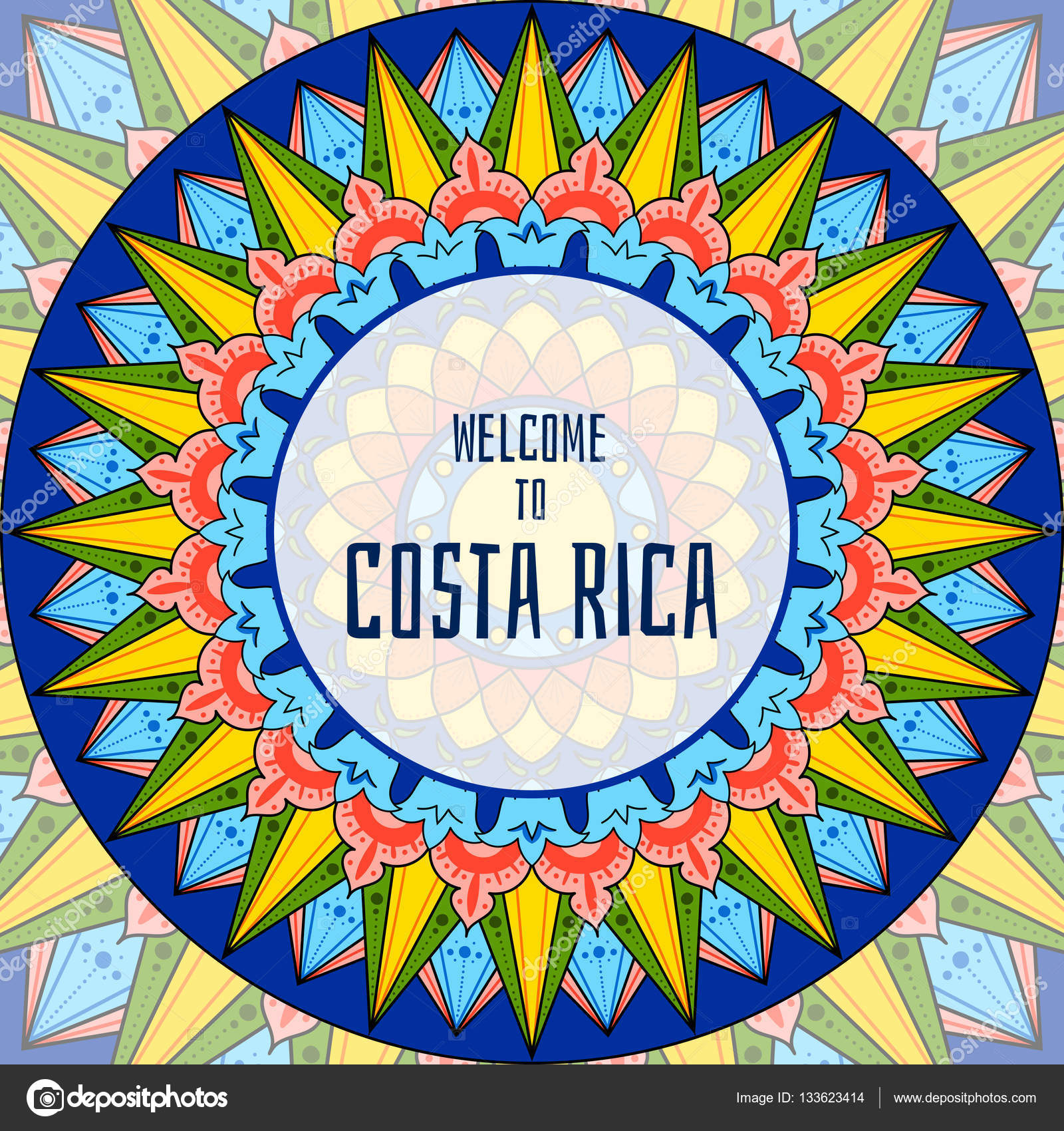 Welcome To Costa Rica Illustration Vector Decorated Coffee Carreta