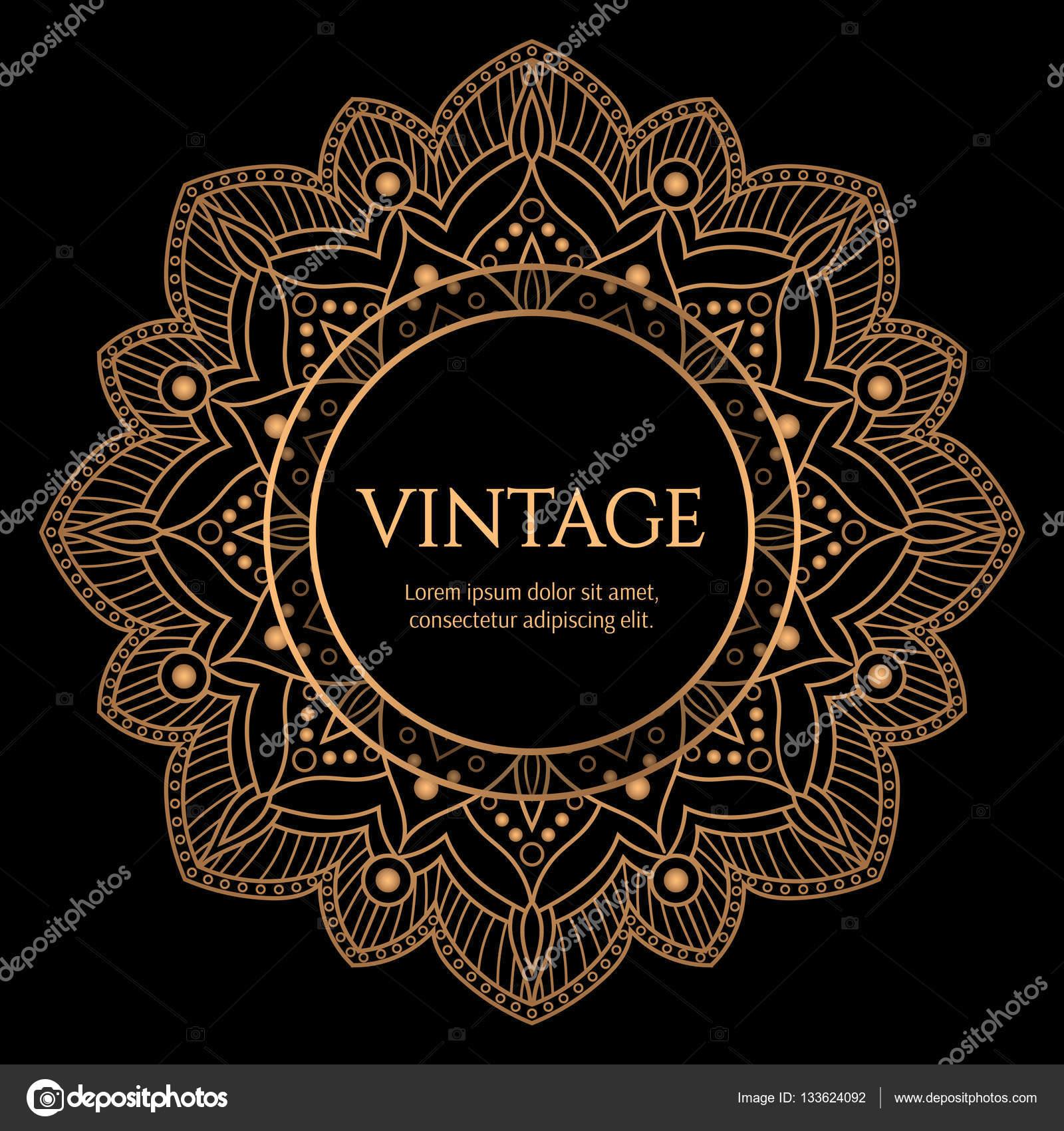 Marco redondo de oro con el vector de fondo negro. Diseño vintage de ...