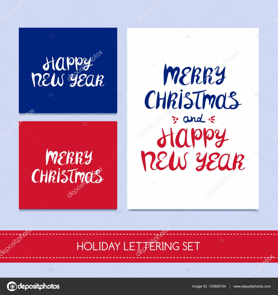 Stockmerry Christmas And New Year Lettering Design Set Vector