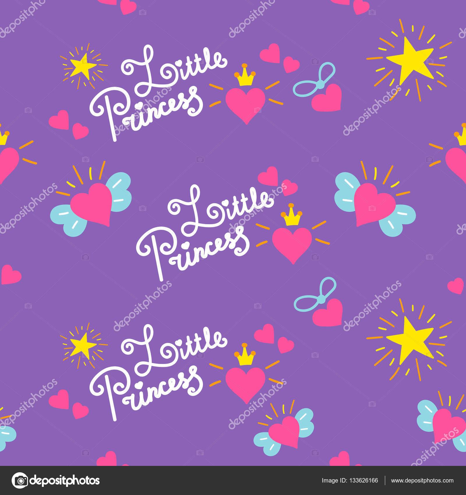 Meisjes Behang Lief.Kleine Prinses Patroon Vector Lief Meisje Achtergrond Voor Sjabloon